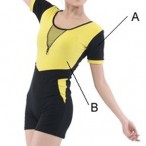 FREE SHIPPING Ladies' Short Sleeve Two-Tone Unitard
