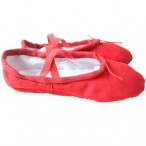 FREE SHIPPING Ready-to-ship Economic Canvas Split-sole Ballet Slippers - Red