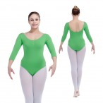 FREE SHIPPING 3/4 Sleeve Leotard with Drawstring Front