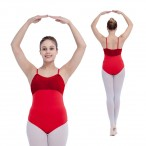 HDW DANCE FREE SHIPPING Velvet and Cotton/Lycra Camisole Leotard with Pinch Front and Back