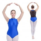 HDW DANCE FREE SHIPPING Shiny Lycra Lace Turtle-Neck Two Tone Tank Leotard