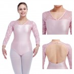 HDW DANCE NylonLycra Lace Long Sleeve Open Back Dance Leotard