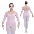 HDW DANCE FREE SHIPPING Mesh 3/4 Sleeve Leotard for Ladies and Girls