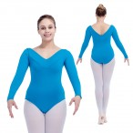 HDW DANCE FREE SHIPPING Cotton/Lycra Long Sleeves V Front Dance Leotards