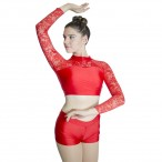 HDW DANCE Shiny Lycra Lace Long Sleeve Tops and Shorts