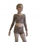 HDW DANCE FREE SHIPPING Leopard Crop Top with Shorts