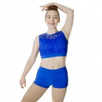 HDW DANCE Shiny Lycra Lace Short Sleeve Tops and Shorts